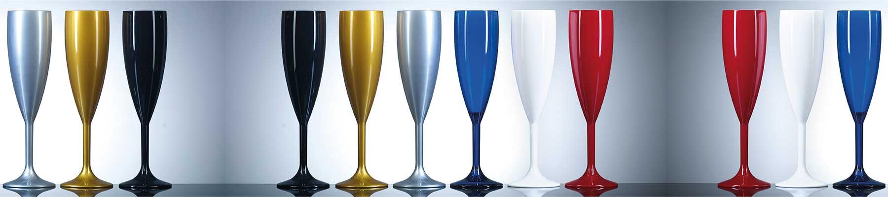 diverse range of reusable plastic champagne flutes